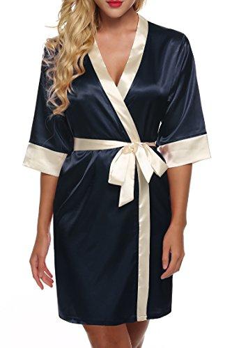 Ekouaer Kimono Robe de Chambre Femme Nuit Sexy Satin Vêtements de Nuit Taille 32-50 XS-XL Bleu Marine