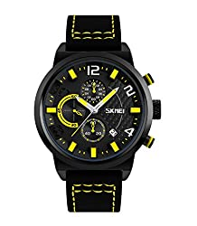 Skmei Elegant Design Analog Chronograph Sports series Genuine Leather Watch -9149 Yellow