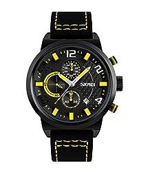 Skmei Elegant Design Analog Chronograph Sports series Genuine Leather Watch -9149 Yellow
