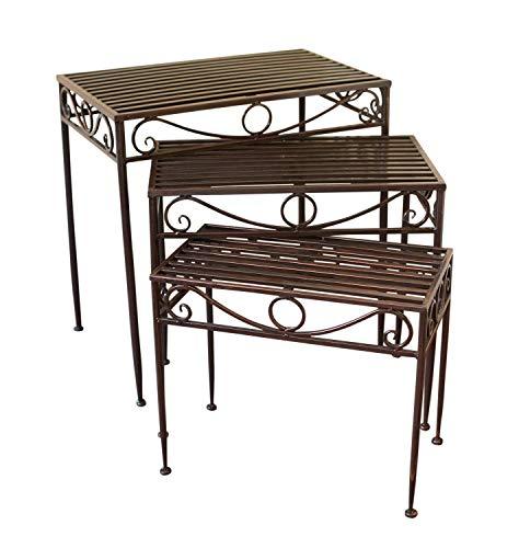 Dreierset - Beistelltische oder Untergestelle aus Metall, im Versailles-Stil, in antiker Bronzeausführung - Ideal für Haus und Garten - Versailles Olive