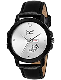 Jaxer Day And Date Silver Dial Analog Watch For Men & Boys - JXRM2112