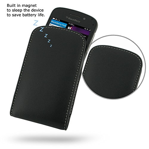 PDAir BlackBerry Q10 Leder Handyhülle Tasche, Echtleder Tasche Handyhülle Hülle Schutz Handy Etui Cover, Handarbeit Prämie Vertical Tasche Für BlackBerry Q10 (NO Gürtelclip) (Blackberry Otterbox Q10)