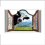 Fashion Wall Stickers-Wandtattoos 3D (die Kuh vor dem Fenster) Tapete Schlafzimmer Wohnzimmer TV Sofa Hintergrund HD selbstklebende Papier.50 * 78.6cm