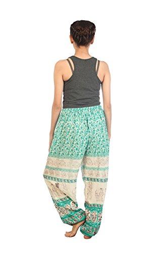 Lofbaz Pantaloni Coulisse da Donna Pavone Funky Floral Harem Pants Taglia Unica Floral 1 Verde Chiaro