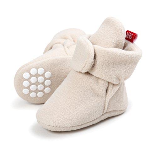 Weiche Baby Socken (EDOTON Unisex Neugeborenes Schneestiefel Weiche Sohlen Streifen Bootie Kleinkind Stiefel Niedlich Stiefel Socke Einstellbar (0-6 Monate, Khaki))