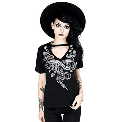 IHEHUA Einfarbig T-Shirts Schwarz Drucken Vintage Tops Party Street Clubwear V-Ausschnitt Kurzarm Hiphop Lockeres Tee Sweatshirt Tuniken Blusen(D-Schwarz,XL)
