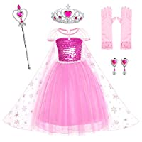 Party Chili Pink Princess Dress Costumes Birthday Dress Up for Little Girls with Crown,Mace,Gloves Accessories 2-3 Years(100cm)