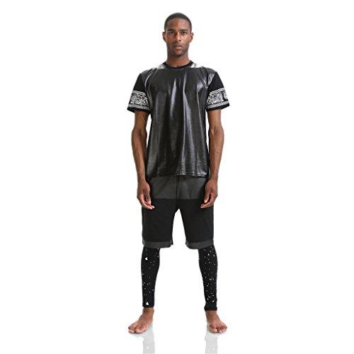 Preisvergleich Produktbild Pizoff Unisex Hip Hop urban schwarz Kunstleder T shirts mit Druckmuster K4110-black--S