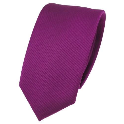 TigerTie schmale Designer Krawatte in magenta fuchsia violett einfarbig Uni Rips gemustert