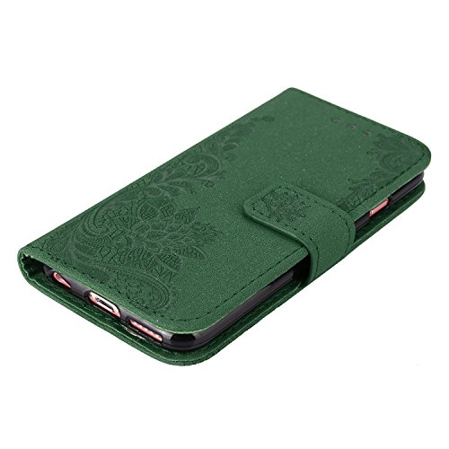 EKINHUI Case Cover Glitter Sparkles Flower Embossing Style PU Ledertasche Geldbörse Tasche mit weichem TPU Back Cover & Lanyard & Kickstand für iPhone 6 Plus & 6s Plus ( Color : Red ) Green