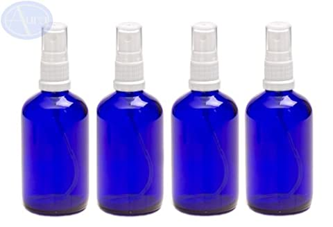 PACK of 4 - 100ml BLUE GLASS Bottles with White ATOMISER Sprays. Essential Oil / Aromatherapy Use