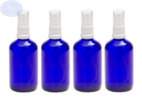 Pack de 4 botellas con atomizador blanco - Cristal azul - 100 ml Uso p