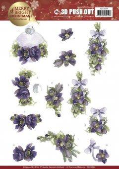 Find It 3D-Stanzbogen - Precious Marieke - Merry and Bright Christmas - Bouquets Lila