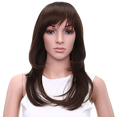 HJL-r¨¦sistant faux cheveux perruque 20inch pas cher vague naturelle de chaleur perruques synth¨¦tiques brun fonc¨¦ pour les femmes