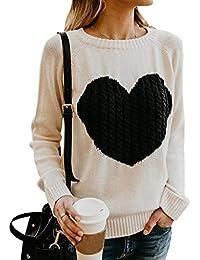 d7d437d93547 Pengniao Strickpullover Damen Oversize Dicke Pullover Frauen Herz Pullis  Sweater Damen Grobstrick Winterpullover…