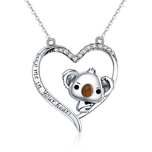 Colgante de plata de ley 925 de alta calidad con diseño de koala en forma de corazón para mujer