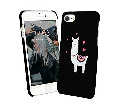 Cute Little White Lama Hearts Animal Exotic_000738 iPhone 6 7 8 X Galaxy Note 8 Huawei Schutzhülle aus Hartplastik Hard Plastic Handy Hülle Geschenk Weihnachten Christmas