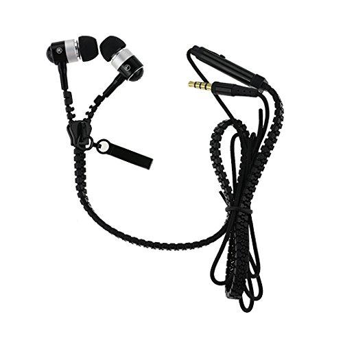 örer mit Reißverschluss Kabel Zipper Design Mikro und ON/OFF Funktionen 3.5 mm Stereo Stecker für Apple iPhone 6/6S/6 Plus/6s Plus,Samsung Galaxy J5/A5/S6 Edge/S8,Sony Xperia Z2/Z3/M2/M4, Huawei P7/P8/P8 Lite/P9/P10 usw (Schwarz) ()