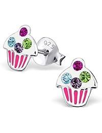JAYARE® Boucles d'oreilles Enfants Cupcakes Muffins Cristal 8 x 7 mm Argent 925/1000 multicolore avec étui clou d'oreilles fille
