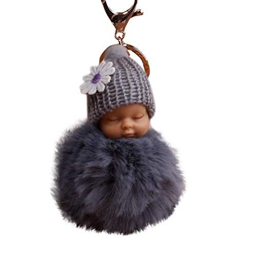 Bobopai 8cm Pompom Cute Fur Fluffy Sleeping Baby Doll Key Chains Keyrings Bags Charm Pendant Gray -