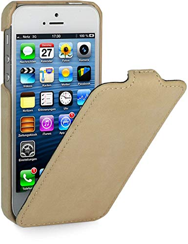 StilGut Leder-Hülle kompatibel mit iPhone 5/5s/iPhone SE UltraSlim, Apricot Vintage