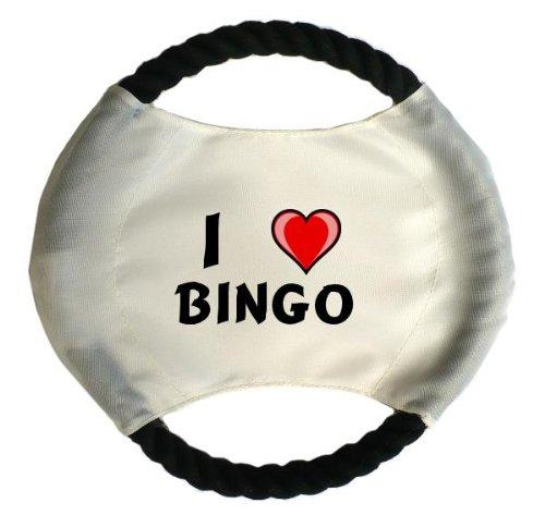 Personalisierter Hundefrisbee mit Aufschrift Ich liebe Bingo (Vorname/Zuname/Spitzname)