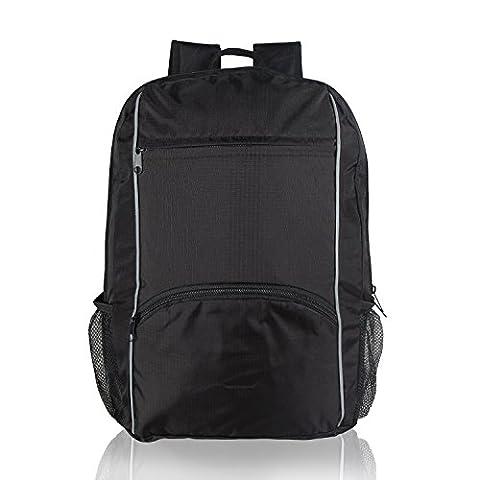 Teamoy Sac à dos pliable pour les sports, sac P.E, sac de voyage de plein air avec sangles larges, fermeture à glissière, léger, haute capacité et résistant à l'eau, idéal pour les séances d'entraînement, le yoga ou les voyages, noir