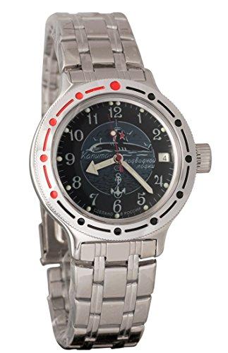 a06d0729ce16 Vostok Amphibian 420831 Ruso Militar reloj 2416b 200 m auto azul marino  Submarino