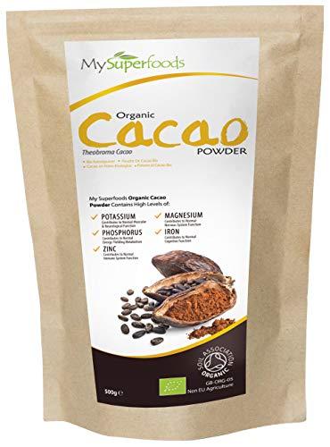 Polvo de Cacao Peruano Crudo Orgánico (500g), MySuperFoods, Delicioso y bueno para usted, Rico en micronutrientes, certificado como producto orgánico, antiguo alimento para la salud maya