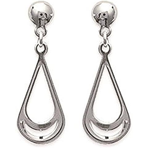 Orecchini in argento 925/1000 a forma di goccia, con ciondolo a forma di pera, da donna