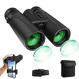 prismáticos Profesionales, 12x42 HD Prismaticos Vision Nocturna con Adaptador de Teléfono, Prismas BaK4 y FMC. Ideales para Observación de Aves, Caza, Senderismo, Astronomía y Camping