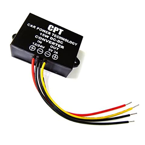 DROK® Waterproof DC-DC Buck Converter 12V/24V to 5V 3A Step Down Voltage Converter Power Supply Module for Cars Audio LED Display, etc