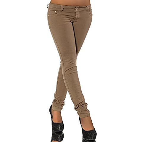 G701 Damen Jeans Look Hose Röhre Leggings Leggins Treggings Skinny Jeggings, Farben:Coffee;Größen:42 (XL)
