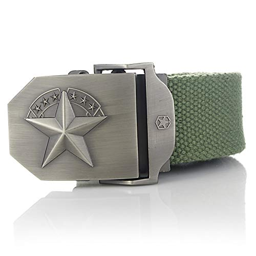 ZHYAODAI Military Tactical Straps Canvas Belt for Men And Women Casual Buckle Jeans, Green Army, 120Cm.
