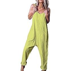 Combinaison Femme Grande Taille,Honestyi Été 2019 Salopette Dame Pas Cher Jumpsuit Casual Rompers À Jambes Larges Playsuit Couleur Unie Bodysuit Poche Fille Pantalons Combishort (S, 3-Mint Vert)