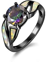 Anillo de cristal para mujer, de colores, fino, opal, de moda, negro, titanio, joyería