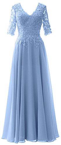 MACloth Elegant Half Sleeves Mother of Bride Dress V Neck Evening Formal Gown Sky Blue