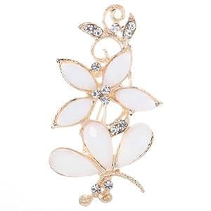 Amybria h¨¹bsche Art Legierung Golden White Schmetterlings-Blumen- Design- Kristall Brosche f¨¹r Frauen