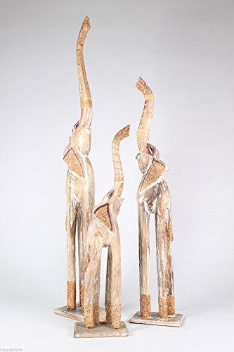 Wohnkult Leewadee - Juego de 3 Figuras de Elefantes (Madera, 100 cm,...