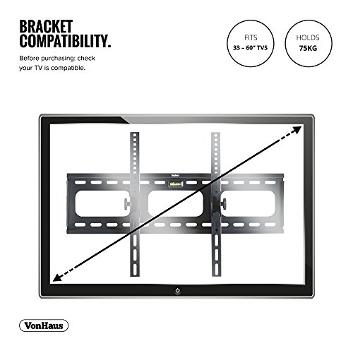 "VonHaus 33-60"" Tilt TV Wall Mount Bracket with Built-In Spirit Level for LED, LCD, 3D, Curved, Plasma, Flat Screen Televisions - Super Strong 75kg Weight Capacity"