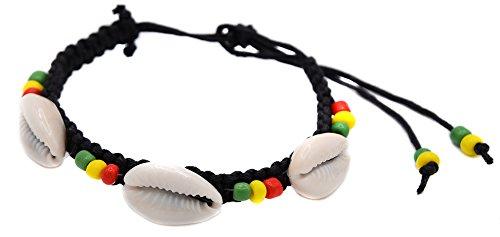 bracelet coquillage macrame cordon rasta reggae jamaique bob cire surf surfeur ete