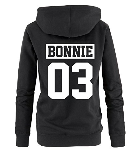 Comedy Shirts - Bonnie 03 - NEGATIV - Damen Hoodie - Schwarz/Weiss Gr. XL (Bonnie Und Clyde Outfits)