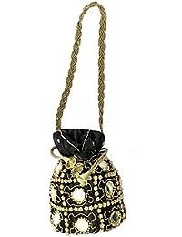 Purpledip Potli- Bolso (embrague, bolso de cordón) para mujer con intrincado hilo