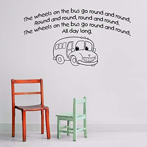jiuyaomai Wandaufkleber Kinderzimmer Die Räder auf dem Bus Wandkunst Poster Bus Poster Wandaufkleber Kinderzimmer Jungen Dekoration schwarz 77x42cm (Ford Nabendeckel Embleme)