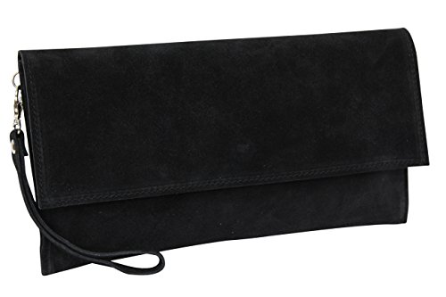 AMBRA Moda Damen Wildleder Clutch Handtasche veloursleder Tasche Handschlaufe WL811 (Schwarz) (Wildleder-clutch Schwarze)
