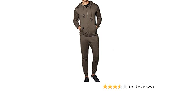New Mens Skinny Fit Contemporary Distressed Ripped Crew Neck Full Tracksuit Set