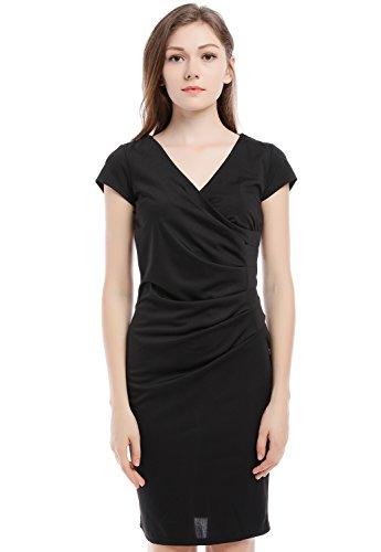 Blooming Jelly Frauen Kleid Surplice Body Con Rüschen V-Ausschnitt Mantel Kleid (Ausschnitt Kleid Surplice)