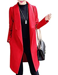 Yasong Women's Faux Wool Coat Trench Jacket Long Open Blazer Outerwear