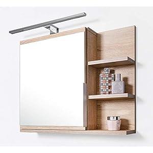 DOMTECH Home Decor Badezimmer Spiegelschrank mit Ablagen und LED Beleuchtung, Badezimmerspiegel, Eiche Sonoma…