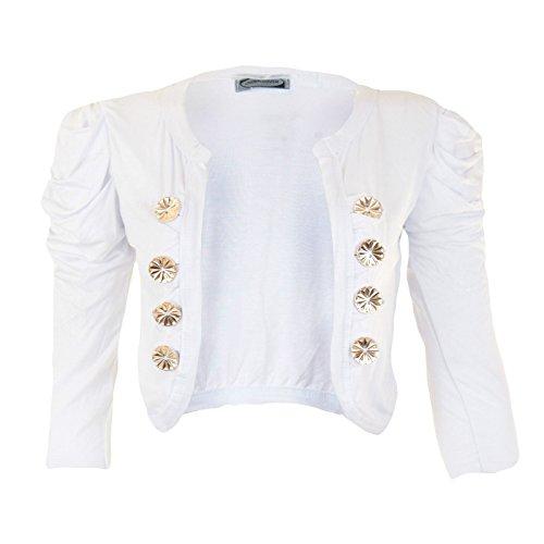 Nouveau femmes ruché épaules 8Button Blazer Crop Top haussement d'épaules veste Blanc